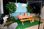 rustic picnic theme red carpet photo booth