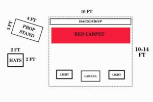red carpet backdrop photo booth dimensions
