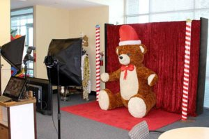 A corporate Christmas holiday photo booth rental