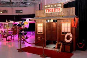 The saloon turned into the Titanic ticket office for the Color & Couture Fashion Show held at the Wheeler Downtown Airport.