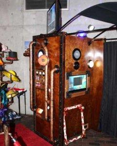 Steampunk rustic time machine wedding photo booth