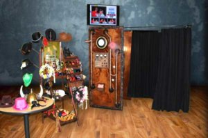 rustic steampunk time machine photo booth