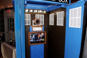Interior of our Dr Who Tardis police box wedding photo booth.